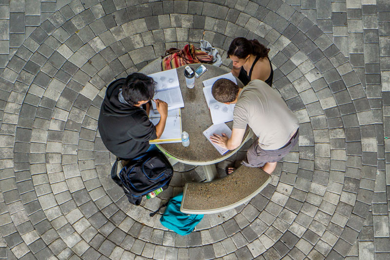 Students at an outdoor table
